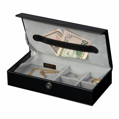 Men's Travel Valet in Black Faux Leather - Adair - Jewelry Boxes by Mele - 0068962M
