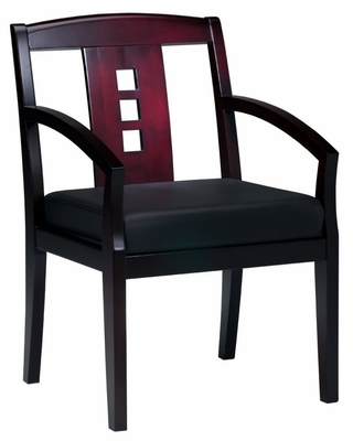 Mercado Leather Side Chair in Mahogany - Mayline Office Furniture - VSC2AMAH