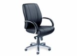 Mercado Optima Mid-Back Leather Chair - Mayline Office Furniture - OPMBLK