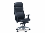 Mercado Pivot Arm Leather Chair - Mayline Office Furniture - FLBLK