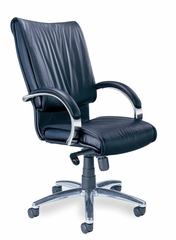 Mercado President Leather Chair in Black - Mayline Office Furniture - PRBLK
