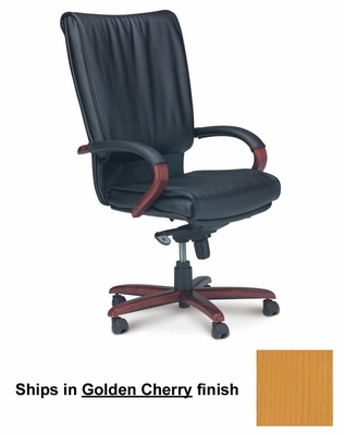 Mercado President Leather Chair with Golden Cherry Wood Frame - Mayline Office Furniture - PRWGCH