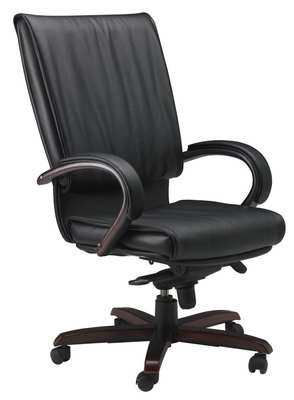 Mercado President Leather Chair with Mahogany Wood Frame - Mayline Office Furniture - PRWMAH