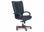 Mercado President Leather Chair with Sierra Cherry Wood Frame - Mayline Office Furniture - PRWCRY
