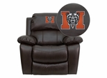 Mercer University Bears Brown Leather Rocker Recliner  - MEN-DA3439-91-BRN-45015-EMB-GG
