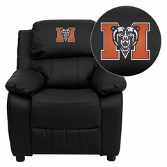 Mercer University Bears Embroidered Black Leather Kids Recliner - BT-7985-KID-BK-LEA-45015-EMB-GG
