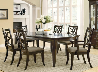 Meredith Leg Table and 6 Chairs Set in Espresso - 103531