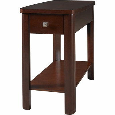 Merlot Rectangle Chairside Table with Drawer - Powell Furniture - POWELL-383-685