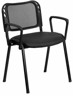 Mesh Screen Back Stack Chair, Padded Vinyl Seat & Arms - EU-65-BK-VYL-A-GG