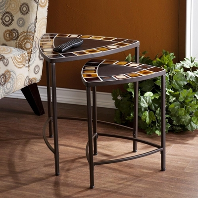 Messina Indoor/Outdoor 2pc Mosaic Nesting Table Set - Holly and Martin