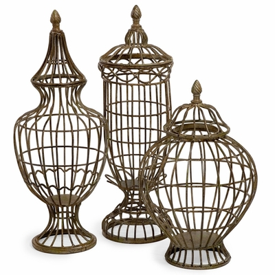 Metal Lidded Urn Trio (Set of 3) - IMAX - 10616-3