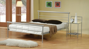Metal Queen Size Platform Bed with Night Stand in Metal Silver - Coaster - 300181Q-22-SET