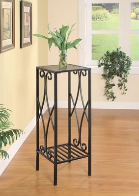 Metal Scroll Plant Stand in Black - 900924