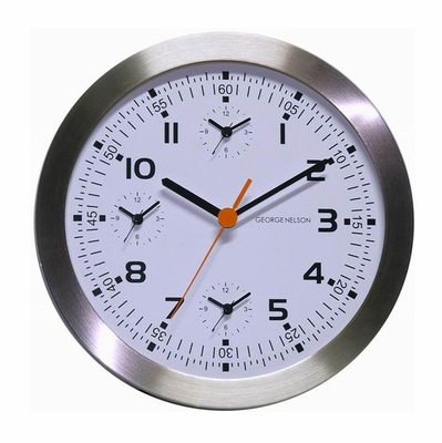 Metal Wall Clock with Extra Three Time Zones - XML-46-KALI-WHITE