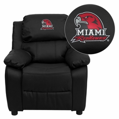 Miami University of Ohio Red Hawks Embroidered Black Leather Kids Recliner - BT-7985-KID-BK-LEA-45016-EMB-GG