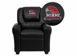 Miami University of Ohio Red Hawks Embroidered Black Vinyl Kids Recliner - DG-ULT-KID-BK-45016-EMB-GG