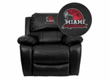Miami University of Ohio Red Hawks Leather Rocker Recliner - MEN-DA3439-91-BK-45016-EMB-GG