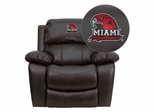 Miami University of Ohio Red Hawks Leather Rocker Recliner - MEN-DA3439-91-BRN-45016-EMB-GG