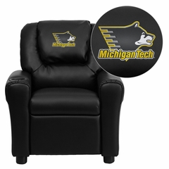 Michigan Technological University Huskies Black Vinyl Kids Recliner - DG-ULT-KID-BK-45035-EMB-GG
