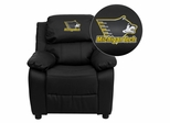Michigan Technological University Huskies Leather Kids Recliner - BT-7985-KID-BK-LEA-45035-EMB-GG