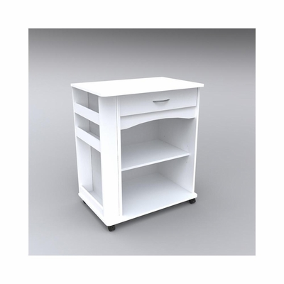 Microwave Cart with Side Storage in White - Nexera Furniture