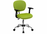 Mid-Back Apple Green Mesh Task Chair - H-2376-F-GN-ARMS-GG