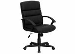 Mid-Back Black Leather Office Chair - GO-1004-BK-LEA-GG