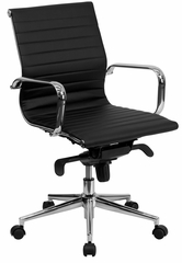 Mid-Back Black Ribbed Upholstered Leather Conference Chair  - BT-9826M-BK-GG