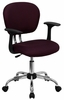 Mid-Back Burgundy Mesh Task Chair - H-2376-F-BY-ARMS-GG