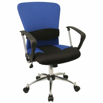 Mid Back Contemporary Blue Mesh Ventilated Chair - LF-W23-BLUE-GG