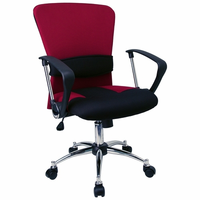 Mid Back Contemporary Red Mesh Ventilated Chair - LF-W23-RED-GG