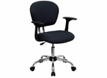 Mid-Back Gray Mesh Task Chair - H-2376-F-GY-ARMS-GG
