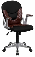 Mid-Back Leather / Mesh Combination Swivel Office Chair  - JQ-5042-GG