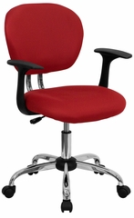 Mid-Back Red Mesh Task Chair - H-2376-F-RED-ARMS-GG
