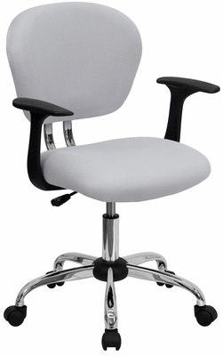 Mid-Back White Mesh Task Chair - H-2376-F-WHT-ARMS-GG