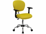 Mid-Back Yellow Mesh Task Chair - H-2376-F-YEL-ARMS-GG