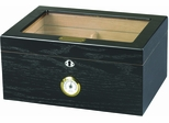 Milano Glass top Cigar Humidor - Black Oak - HUM-75BLK