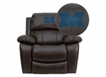 Millikin University Big Blue Embroidered Brown Leather Recliner  - MEN-DA3439-91-BRN-41052-EMB-GG