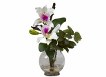 Mini Cattleya with Fluted Vase Silk Flower Arrangement - Nearly Natural - 1275-WH