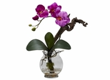 Mini Phalaenopsis with Fluted Vase Silk Flower Arrangement - Nearly Natural - 1277-PP
