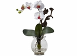 Mini Phalaenopsis with Fluted Vase Silk Flower Arrangement - Nearly Natural - 1277-WH