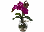 Mini Vanda with Fluted Vase Silk Flower Arrangement - Nearly Natural - 1276-BU