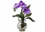 Mini Vanda with Fluted Vase Silk Flower Arrangement - Nearly Natural - 1276-PP