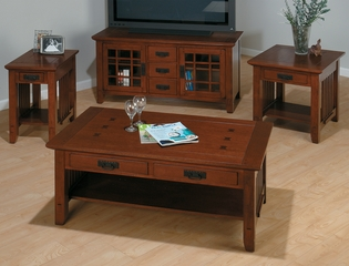 Mission Oak 4PC Livingroom Table Set with TV Stand - 036-1