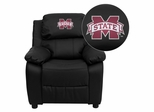 Mississippi State University Bulldogs Leather Kids Recliner - BT-7985-KID-BK-LEA-45017-EMB-GG