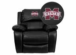Mississippi State University Bulldogs Leather Recliner  - MEN-DA3439-91-BK-45017-EMB-GG