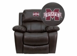 Mississippi State University Bulldogs Leather Recliner - MEN-DA3439-91-BRN-45017-EMB-GG