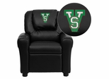 Mississippi Valley State University Devils Embroidered Black Vinyl Kids Recliner - DG-ULT-KID-BK-41053-EMB-GG