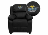 Missouri, Kansas City Kangaroos Embroidered Black Leather Kids Recliner - BT-7985-KID-BK-LEA-41086-EMB-GG