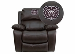 Missouri State University Bears Embroidered Brown Leather Rocker Recliner  - MEN-DA3439-91-BRN-40009-EMB-GG